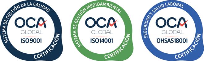 Certificados de calidad ISO9001, ISO14001 y OHSAS18001